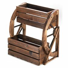 Buy 13842U - Wagon Wheel Double-Tier Wood Planter Yard Art