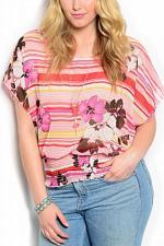 Buy Sheer Top Womens PLUS SIZE 3XL ZENOBIA Pink Floral Striped Kimono Sleeves Neckla