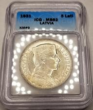 Buy 1931 Latvia 5 Lati World Silver Coin ICG MS62 Certified