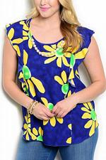 Buy Womens Top Blue Floral SIZE 2XL Waterfall Cap Sleeves Necklace VIVA YOU