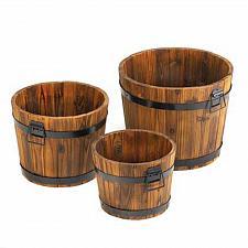 Buy 15114U - Apple Barrel Fir Wood Planter Set of 3