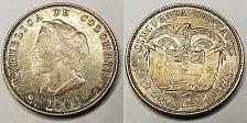 Buy 1892 Colombian 50 Centavos World Silver Coin - Colombia - Christopher Columbus