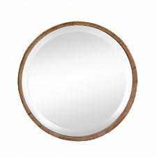Buy *17291U - Brown Round Wood Frame Beveled Wall Mirror