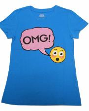 Buy Girls OMG Emoji Graphic T-Shirt Ocean Blue Size M 7-8 Short Sleeves Crewneck