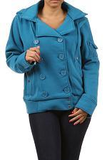 Buy Women Basic Coat Hoodie Button PLUS SIZE 1X 2X 3X AMBIANCE Blue Burgundy Winter