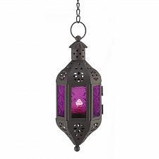 Buy 39640U - Mystical Purple Glass Black Iron Hanging Candle Lantern