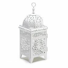 Buy 38332U - White Floral Scrollwork Metal Candle Lantern