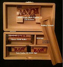 Buy MED. Rolling Supreme Storage Box+100 RAW Single Wide Papers+Tips+Rolling Machine
