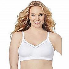 Buy Womens BRA 48C JUST MY SIZE Solid White Wire Free Back Smoothing Full Coverage