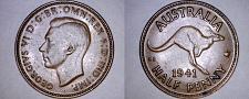Buy 1941 Australian Half (1/2) Penny World Coin - Australia - Kangaroo - George VI
