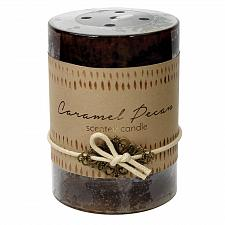Buy :10922U - 2ct Caramel Pecan Scented Tri-color Brown Pillar Candle 3x4 Charm