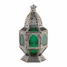 Buy *16074U - Basilica Burnished Silver Metal Green Glass Candle Lantern