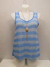 Buy Womens Sheer Crochet Top PLUS SIZE 3XL COLOR SWATCH Blue Sleeveless Necklace
