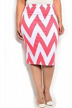 Buy Womens Pencil Skirt SIZE 2XL MOA Coral White Chevron Knee Length Elastic Waist