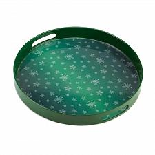 Buy *15514U - Green Round Snowflake Design Serving Tray