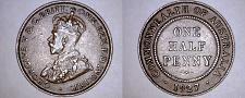 Buy 1927 Australian Half (1/2) Penny World Coin - Australia