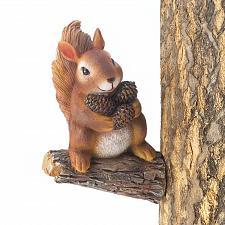Buy *17218U - Gathering Pinecones Brown Squirrel Statue Tree Decor