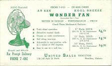 Buy Vintage Ink Blotter United Sales Hamilton Ontario Canada At Eze Wonder Fan 2