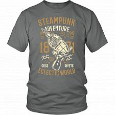 Buy Steampunk Adventure Adult Unisex T-Shirt Pop Culture Graphic Tee (Grey/District Unise