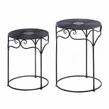 Buy *16159U - Umber Wicker Top Round Iron Frame Nesting Tables