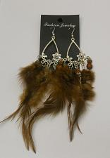 Buy Women Feather Earrings Drop Dangle Brown Silver Tones Hook Fasteners FASHION