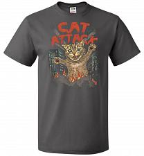 Buy Cat Attack Unisex T-Shirt Pop Culture Graphic Tee (L/Charcoal Grey) Humor Funny Nerdy