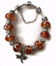 Buy Firefly European Silver Charm Bracelet With Rust Murano Beads