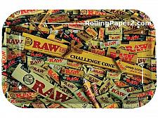 Buy RAW 7X11 Challenge Cone Collage Mixed Rolling Papers Metal Tray The Natural Way