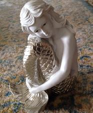 "Buy calling all mermaids! 8"" ceramic mermaid with metalic tail is for you"