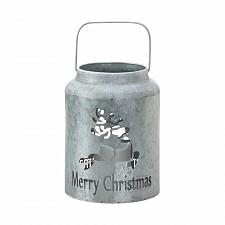 Buy *18550U - Merry Christmas Cut-Out Reindeer Galvanized LED Candle Lantern