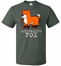 Buy Alternative Fox Unisex T-Shirt Pop Culture Graphic Tee (L/Forest Green) Humor Funny N