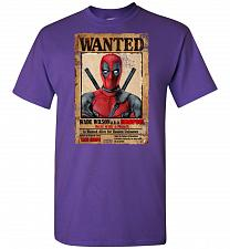 Buy Deadpool Wanted Poster Unisex T-Shirt Pop Culture Graphic Tee (L/Purple) Humor Funny