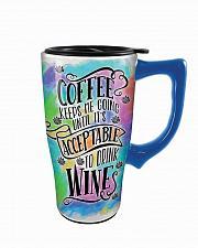 Buy :10593U - Coffee Keeps Me Going Til Wine Acceptable 16oz Ceramic Travel Mug