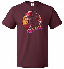 Buy Rad Rebel Unisex T-Shirt Pop Culture Graphic Tee (2XL/Maroon) Humor Funny Nerdy Geeky
