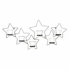 Buy *15366U - Cutout Star Motif Six Glass Cup Black Metal Wall Sconce