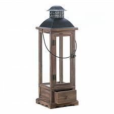 "Buy *17173U - Mount Vernon Wood 25"" Pillar Candle Lantern Glass Panel W/Drawer"