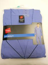 Buy Pajama Set Mens 2 Piece Woven Solid Blue SIZE XL Long Sleeves Button-End HANES