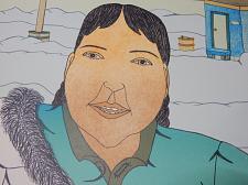 Buy Inuit Eskimo Art Lithograph: ANNIE POOTOOGOOK, A Friend Visits, Cape Dorset 2008