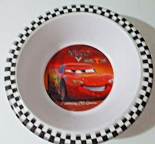 Buy Disney Pixar Cars Lightning McQueen Melamine Bowl Checkered Rim EUC