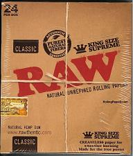 Buy 24 PACKS RAW CLASSIC KING SIZE SUPREME Natural Unrefined Cigarette Rolling Paper