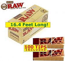 Buy RAW ORGANIC HEMP ROLL 16.4' of 1.25 NATURAL ROLLING PAPER + 100 Unbleached TIPS