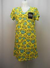 Buy Women Sleepshirt DESPICABLE ME 3 SIZE L/XL Yellow Print V-Neck Short Sleeves
