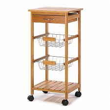 Buy 14710U - Osaka 2 Basket Drawer Shelf Bamboo Wood Kitchen Cart