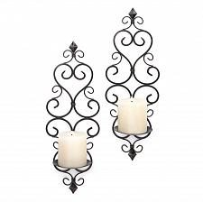 Buy *15834U - Lovestone Scrollwork Black Metal Pillar Wall Sconce Candleholders