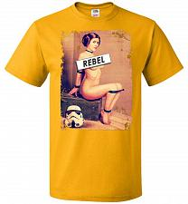 Buy Princess Leia Rebel Youth Unisex T-Shirt Pop Culture Graphic Tee (Youth L/Gold) Humor