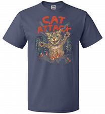 Buy Cat Attack Unisex T-Shirt Pop Culture Graphic Tee (2XL/Denim) Humor Funny Nerdy Geeky