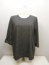 Buy Women Knit Top PLUS SIZE 2X AMERICAN SWEETHEART Black Striped Scoop Neck ¾ Sleev