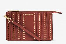 Buy NWT Michael Kors Brooklyn Grommet Medium Wristlet in Brick $148 Leather & Suede