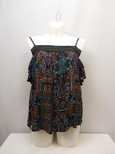 Buy Women Peasant Top PLUS SIZE 2XL Black Floral Off Shoulders Straps Dolman Sleeves