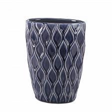 Buy *17157U - Deep Blue Wide Stoneware Accent Vase